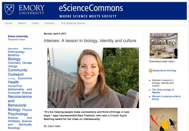 Screenshot of intersex articl