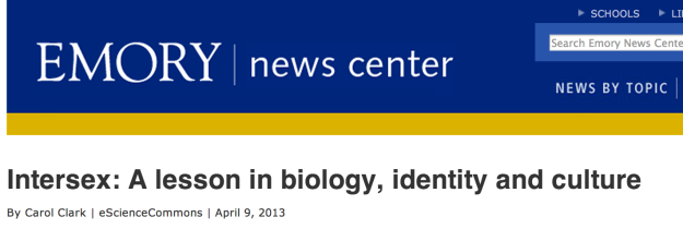 Screenshot Emory News Intersex article